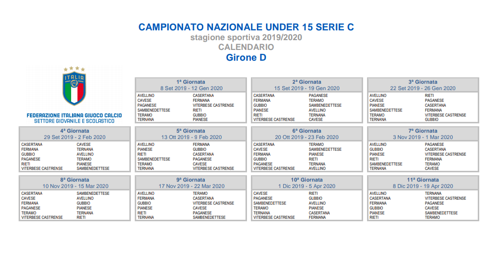 Calendario Avellino Calcio.Avlive Avellino Ecco I Gironi Ed I Calendari Dell Under